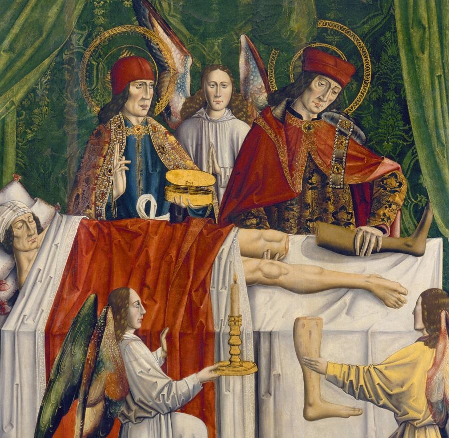 Святые Козма и Дамиан пересаживают ногу. Лос Балбасес, к. XVI в. Лондон, Университетская библиотека