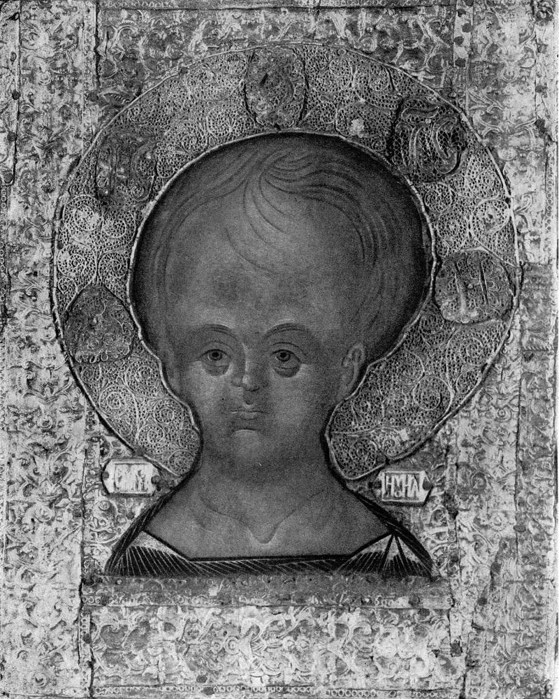 Икона с «оглавным» изображением Спаса Эммануила. Живопись школы Андрея Рублева первой половины XV века