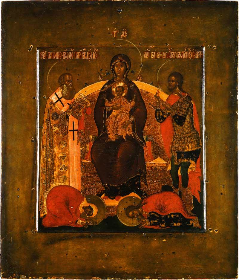 Богоматерь на престоле со святыми Григорием Богословом, Никитой, Маврой и Евпраксией. Автор Прокопий Чирин