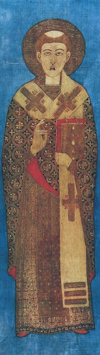 Святитель Никита, епископ Новгородский. Шитье. Середина XVI в. Из Софийского собора. Новгород, НГОМЗ