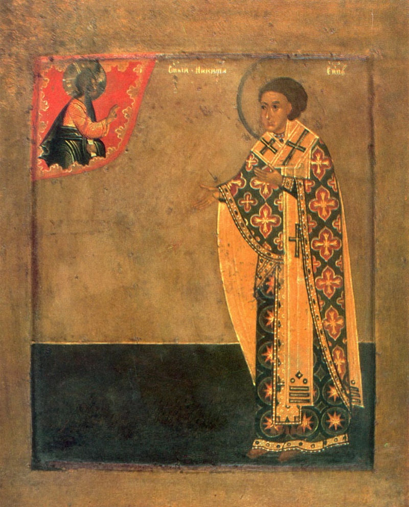 Святитель Никита, епископ Новгородский. Икона. Русь. XVII в.