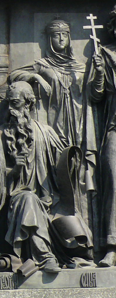 Святая княгиня Ольга на Памятнике «1000-летие России» в Великом Новгороде
