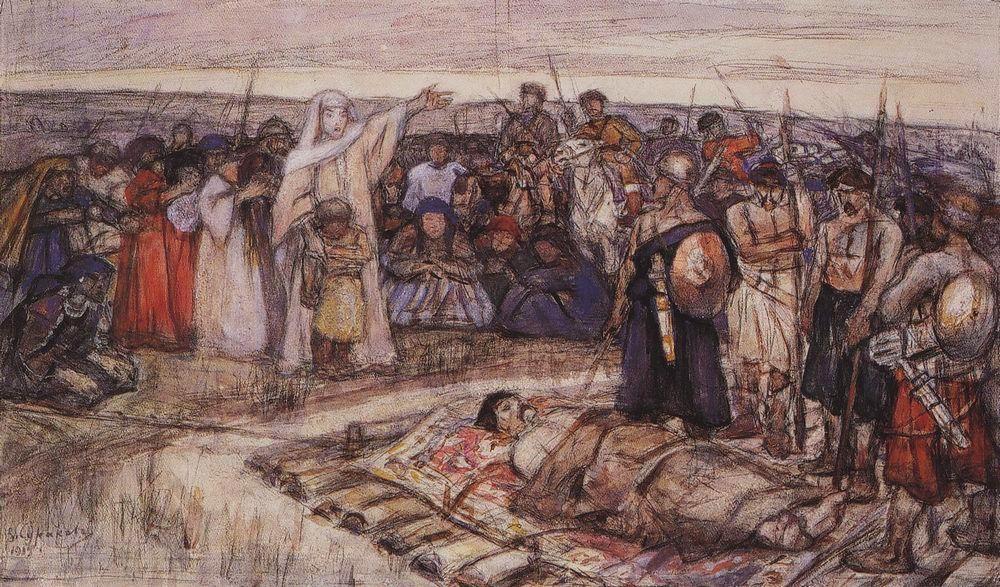 В.И. Суриков. Княгиня Ольга встречает тело князя Игоря. Эскиз, 1915 год