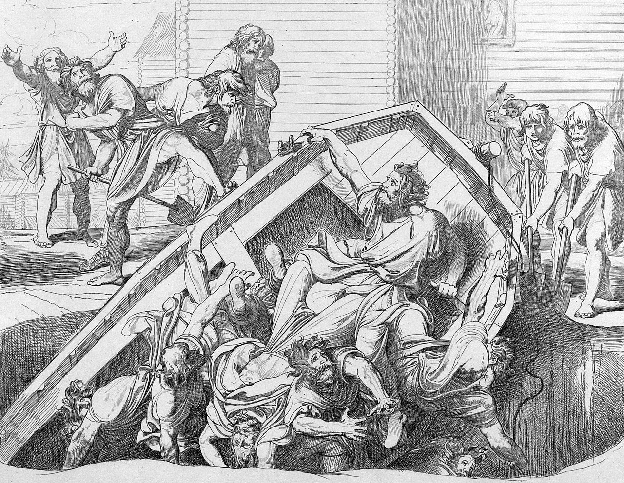 Ф.А. Бруни. Мщение Ольги против идолов древлянских. Гравюра, 1839 год