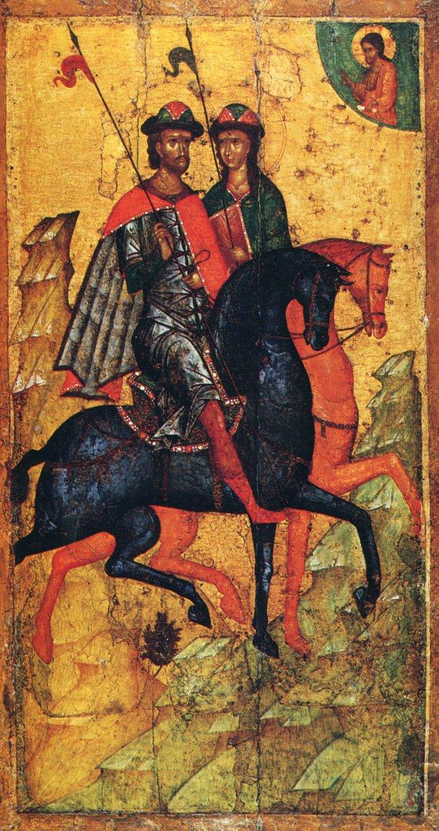Святые князья Борис и Глеб на конях. Икона XIV века. Москва, ГТГ
