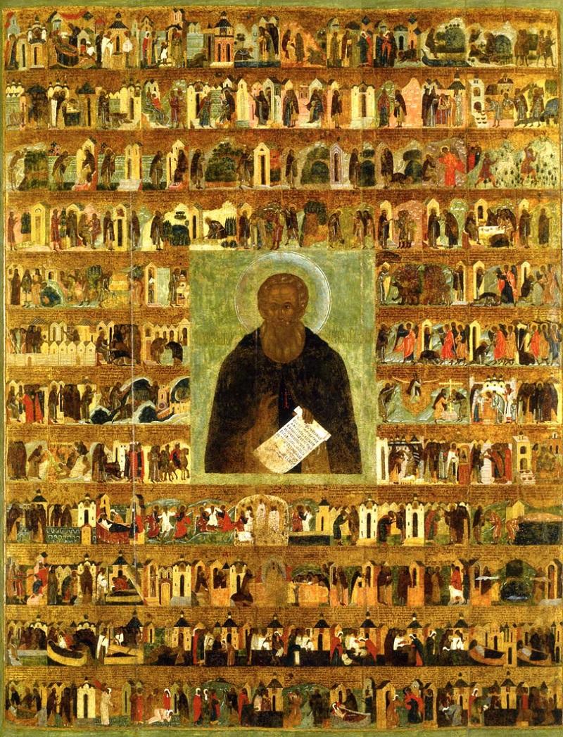 Преподобный Александр Свирский с житием. Икона. Москва, 1547-1555 гг. Успенский собор Московского Кремля