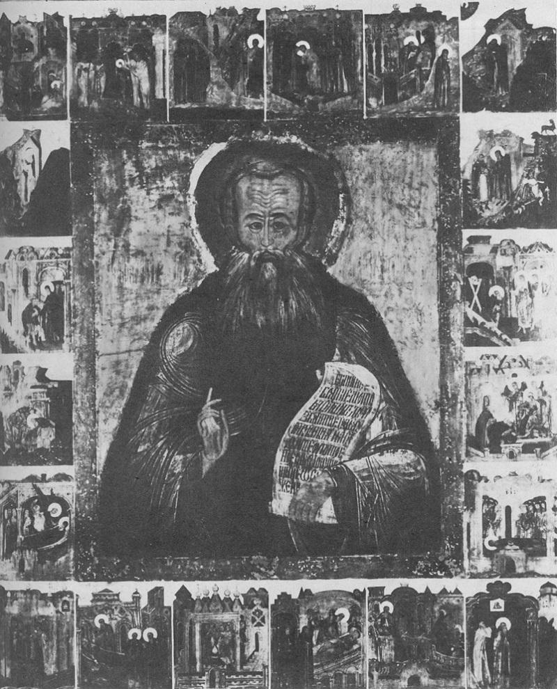 Преподобный Александр Свирский. Икона. Русь. Конец XVI — начало XVII века
