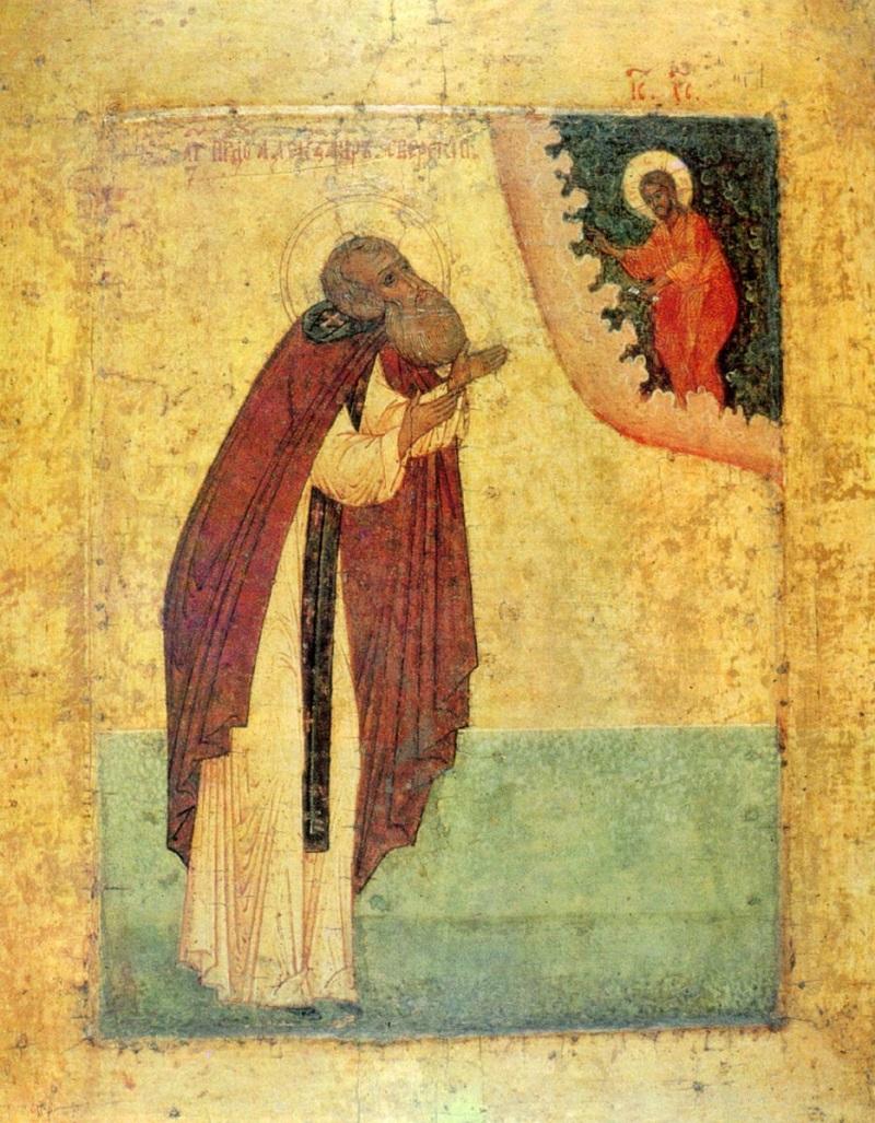 Преподобный Александр Свирский. Икона. Русь. Конец XVI века
