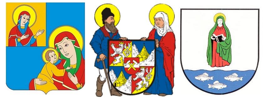 Слева направо: Герб г. Кобрина (Беларусь), герб г. Яхимова (Чехия), Герб г. Санкт-Аннена (Германия)