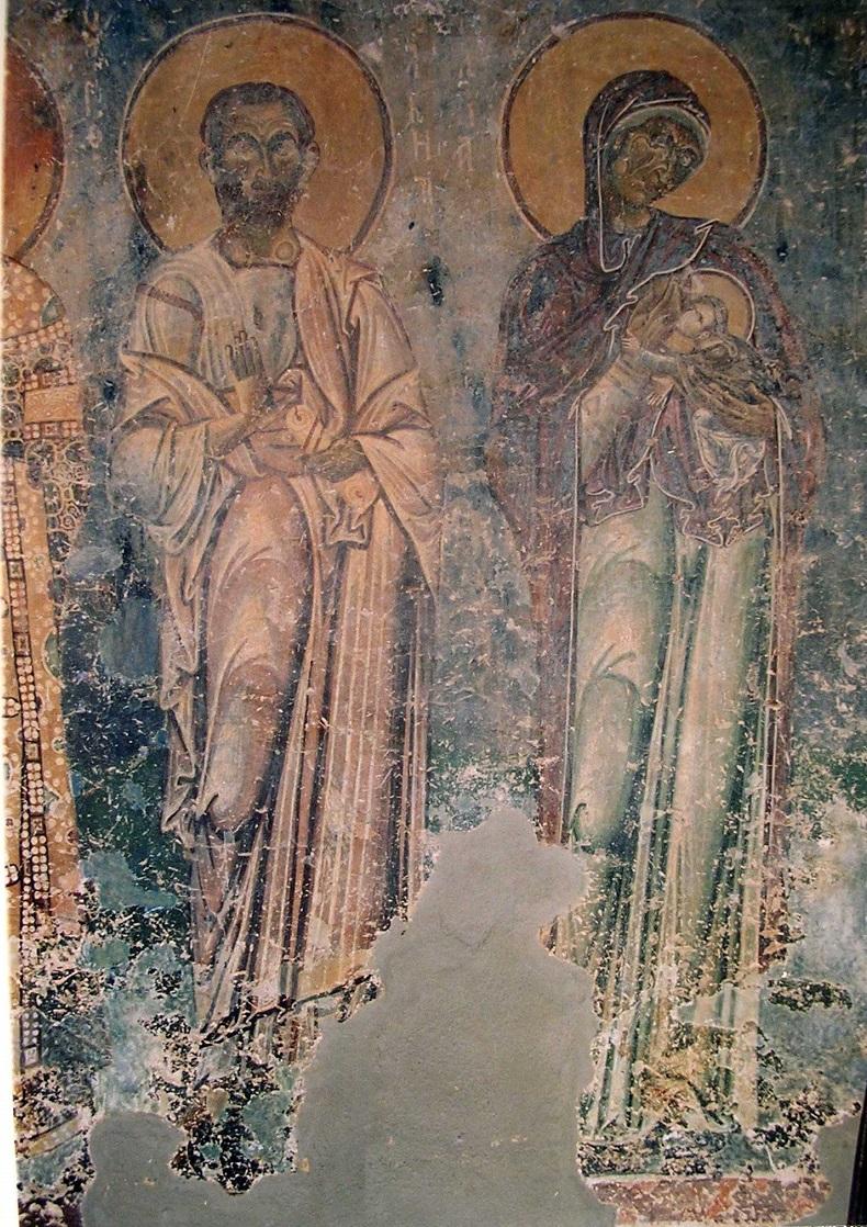 Святые праведные Иоаким и Анна. Роспись церкви великомученика Георгия в Курбинове, Македония, 1191 г.