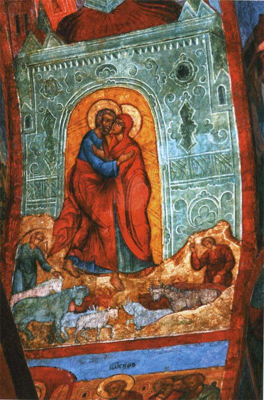 Встреча святых праведных Иоакима и Анны. Фрески Успенского собора Кирилло-Белозерского монастыря, западный склон южной подпружной арки, 1641 г.