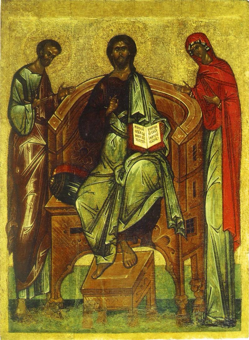 Спас на престоле с предстоящими Иоакимом и Анной. Русский Север (Шенкурск), вторая половина XVI в. Москва, ГТГ