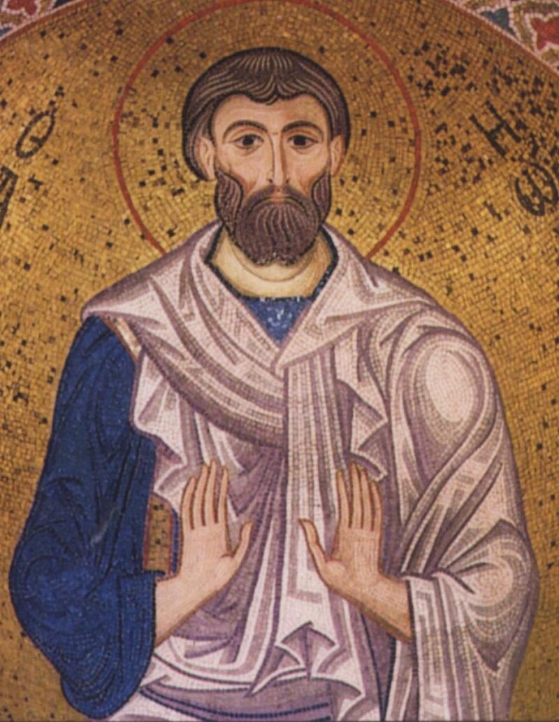 Святой праведный  Иоаким. Мозаика собора Санта Мария дельи Амиральи (Марторана). Палермо, Сицилия. 1143 г.