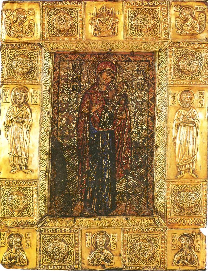 Святая праведная Анна с Марией. Мозаическая икона, конец XIII века. Афон, монастырь Ватопед