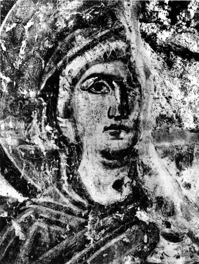 Святая праведная Анна. Середина VII в. Церковь Санта Мария Антиква, Рим, Италия. Фреска на юго-западном столбе корабля