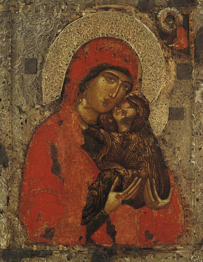 Святая праведная Анна с Богородицей. Икона. Сербия (?). XIV век. Музей «Ризница Троице–Сергиевой Лавры»