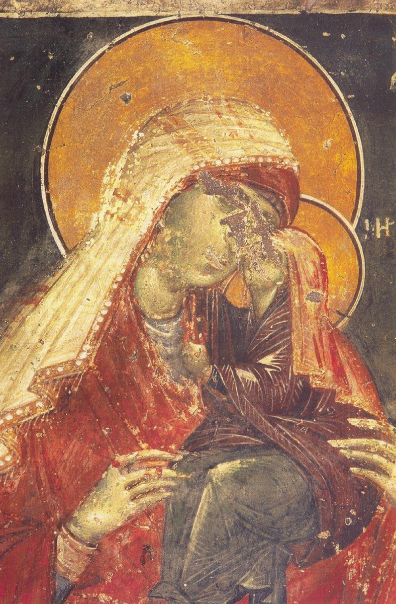 Святая праведная Анна с Богородицей. Фреска храма святителя Николы. Орфанос, Салоники. XIV в.