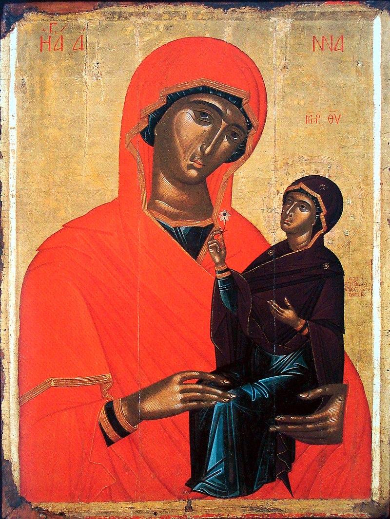 Святая праведная Анна с младенцем Марией. Иконописец Ангелос Акотанос. Греция, XV век