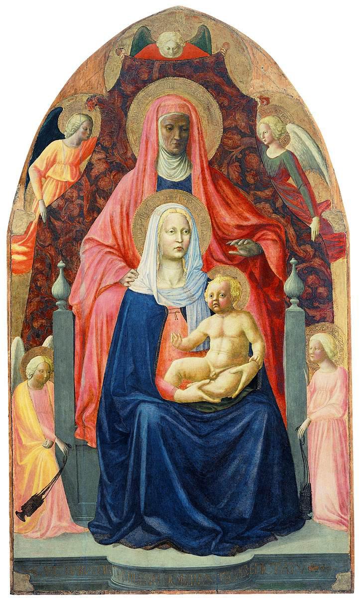 Святая Анна с Марией и младенцем Исусом на коленях. Мазолино и Мазаччо. 1424-1425 гг., Уффици