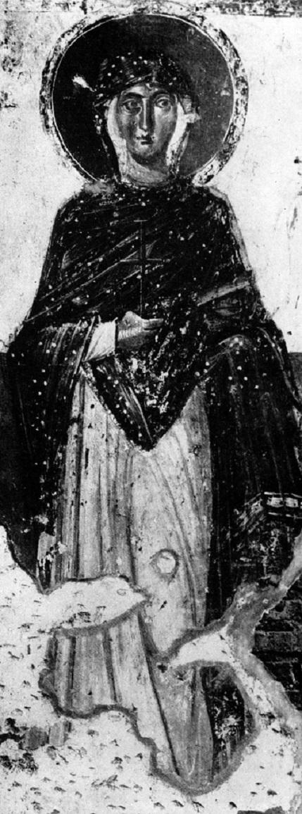 Святая великомученица Варвара. Середина VII в. Рим, Италия, Церковь Санта Мария Антиква. Фреска на западной стене пресбитерия