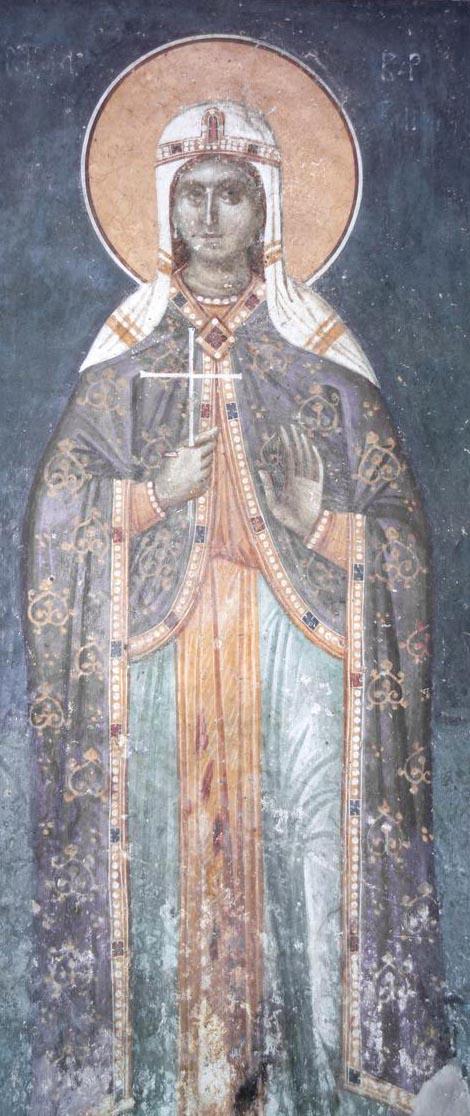 Святая великомученица Варвара. Фреска церкви Благовещения. Грачаница. Косово. Сербия. Около 1318 г.