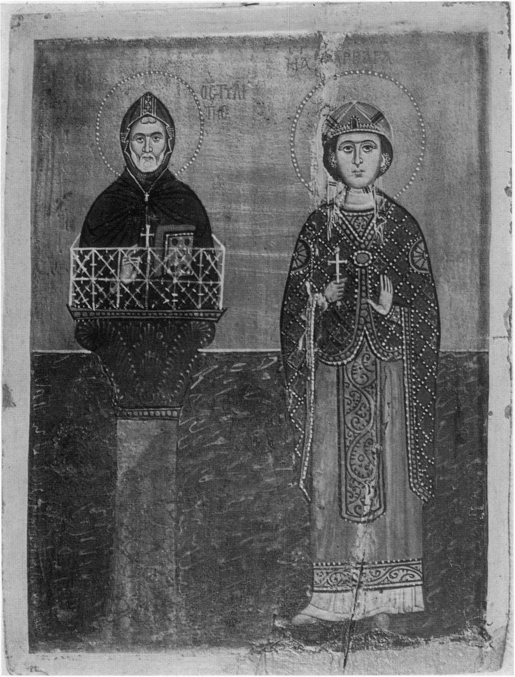 Святые Симеон Столпник и Варвара. XIII в. Синай, Египет, монастырь св. Екатерины