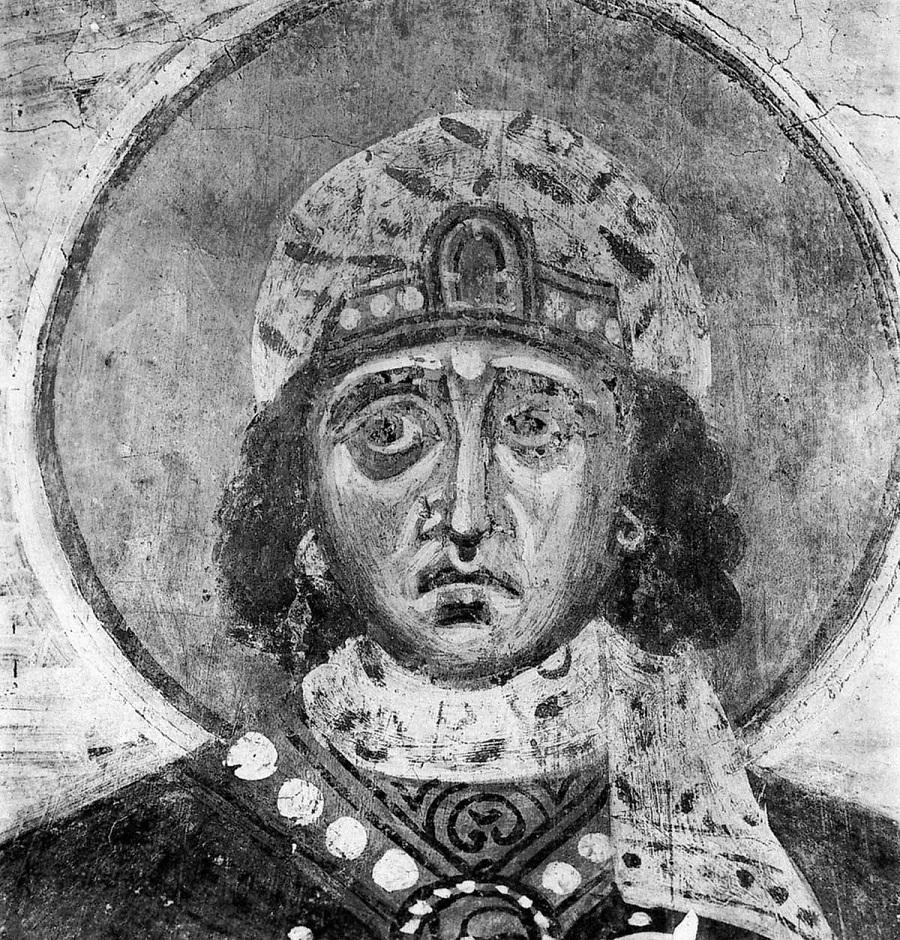 Святая великомученица Варвара. 1199 г. Новгород, Церковь Спаса на Нередице. Фреска на склоне арки у южной стены
