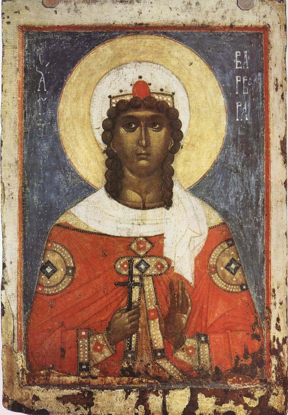 Святая великомученица Варвара. Икона. Русь. Вторая половина XIV в. Москва, ГТГ