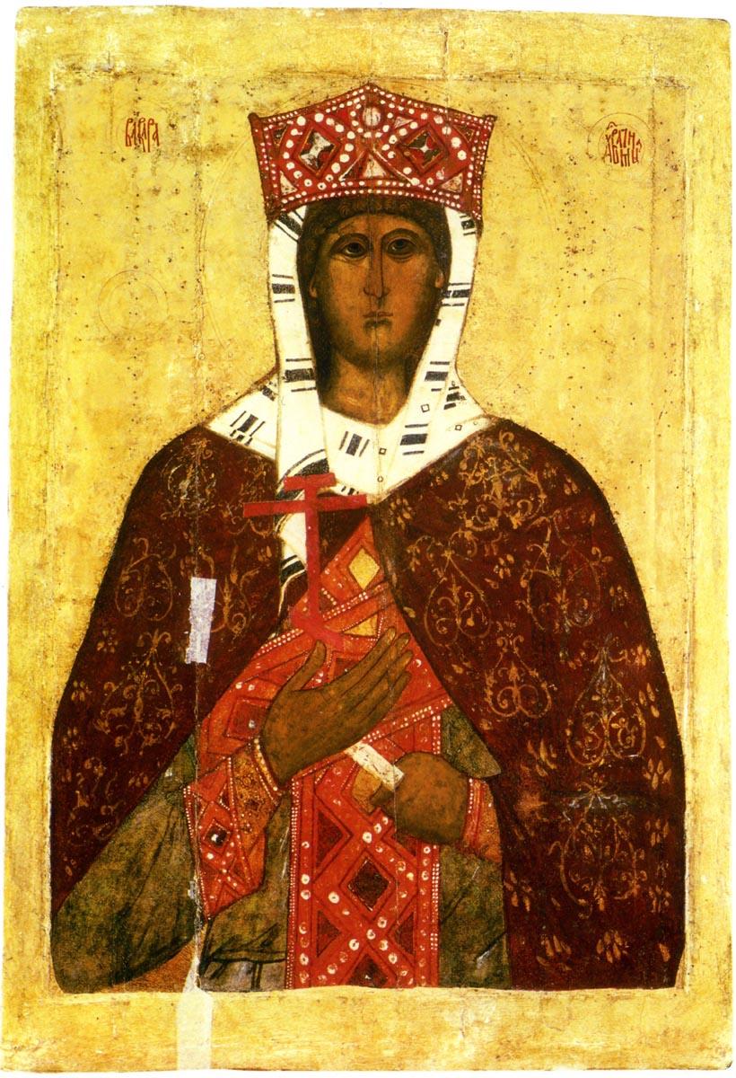 Святая великомученица Варвара. Икона. Псков, XIV век