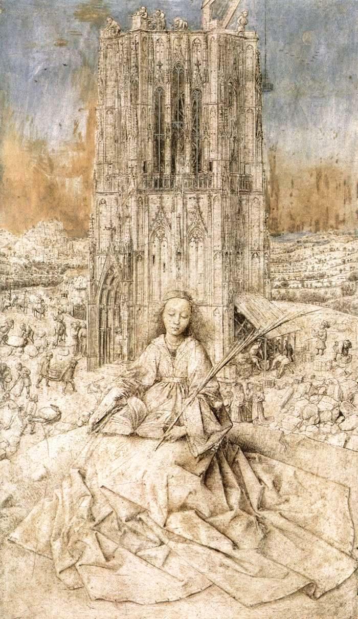 Святая Варвара. Ян ван Эйк, 1437 г., Королевский музей изящных искусств, Антверпен