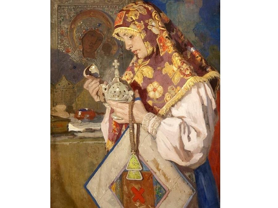 Картина И. С. Горюшкина-Сорокопудова «В молитве», 1900 г. На картине изображена стоящая возле иконы девушка-старообрядка, она держит в руках кадильницу, лестовку и подручник.